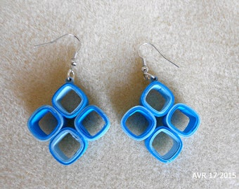 Blue Square earrings made using quilling technique