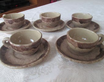 Ceramic coffee set,Bulgarian ceramic set,Vintage handmade and handpainted ceramic,Bulgarian Folk Art, Home decor,Vintage Kitchen,Coffee cups