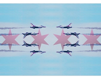 Chicago Flag Art Print Air and Water Show Fine Art Poster Wall Sticker