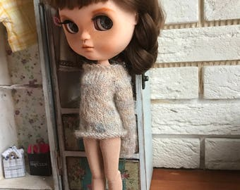 Blythe doll sweater, Grey clothes for blythe doll, Mohair outfit, Blythe doll Long sleeve dress, Blythe knit wear, Hand knitted grey jumper