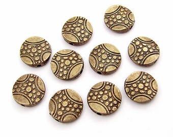 10 pearls fantaisie11mm metal / bronze