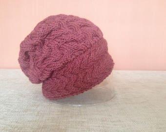 Plum Hand-knit Women's Slouchy Hat