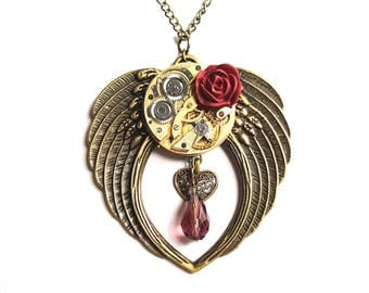 Steampunk Necklace - Large Angel Wings Steampunk Rose with Vintage Watch Movement