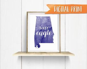 War Eagle Auburn Print, Printable Wall Decor, Digital Print