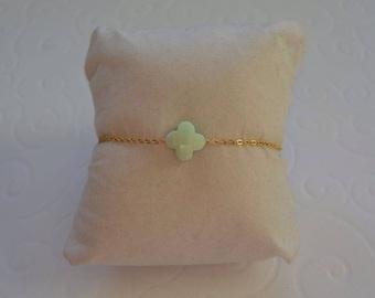 Lime green clover bracelet on gold chain