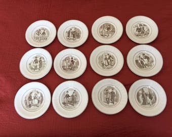 DIGOIN & SARREGUEMINES FRANCE set of 12 plates