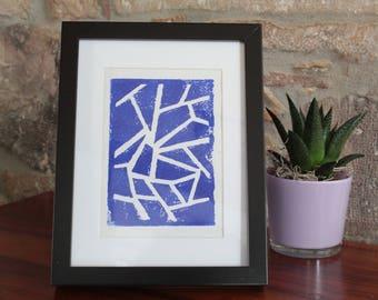 A5 linocut decoration - pattern lines - blue