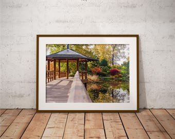 Metal Print - Japanese Garden, landscape Photography - Metalic Aluminum Print, Fine Art, Wall Art, Nature Print, Home Decor, Photography