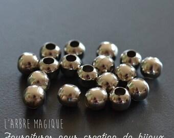 25 beads gun metal round spacer 6 mm size