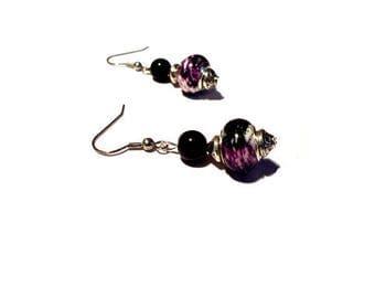 Retro earrings, black pearls ~ white ~ violets