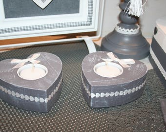 grey and white heart candle