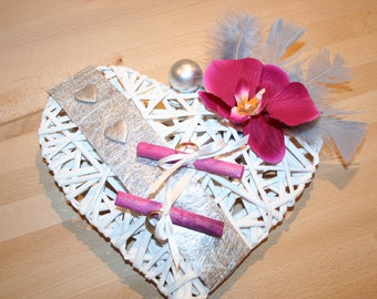 Ring bearer wedding Orchid grey white feather silver and pink