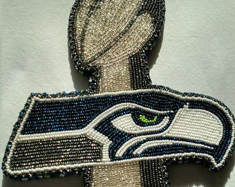 Seahawks Football on Tee Beaded Necklace