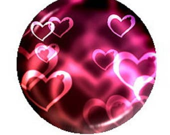 20mm cabochon pink/red hearts