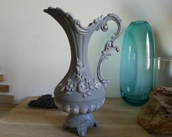 Gustavian grey weathered handle vase