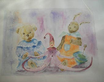 watercolor for kids: pink marionette, the bear and rabbit