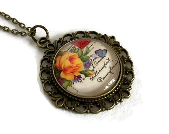 Flower Necklace - Rose necklace - carte postale - Vintage style - Floral bouquet over letter script -  Gifts for women - Gift for gardener