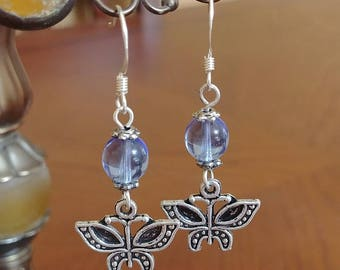 Silver Butterfly Earrings with Glass Pearls