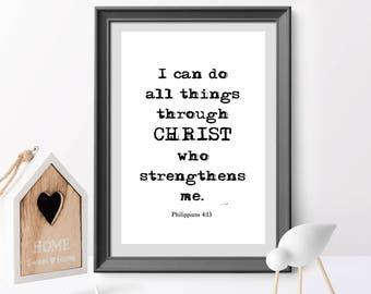 I can do all things through Christ, Philippians 4:13, Bible verse, Christian Nursery Wall Art, Christian Gift, Nursery Art, home decor