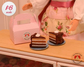 Miniature Chocolate Cake Slices For Barbie or Blythe, Miniature Cake Slices with Box, 1:6 Scale Dollhouse Desserts
