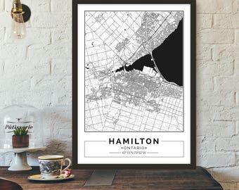Hamilton, Ontario, Canada, City map, Poster, Printable, Print, Street map, Wall art