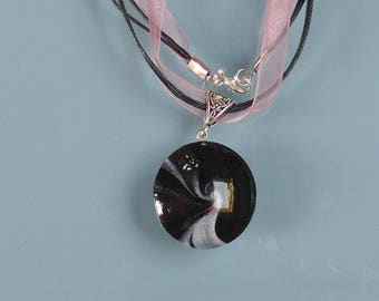 Pearl Pink and black swirl polymer clay pendant