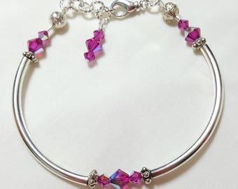 Fuchsia Crystal Bangle Style Bracelet