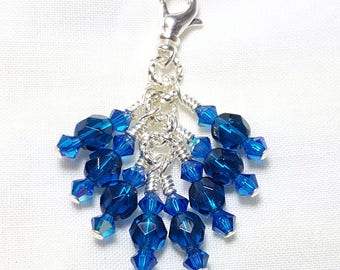 Capri Blue Zircon Crystal Zipper Pull Pendant