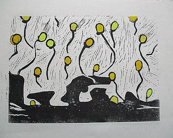Linocut print balloons - in addition handcoloriert - gift for every occasion