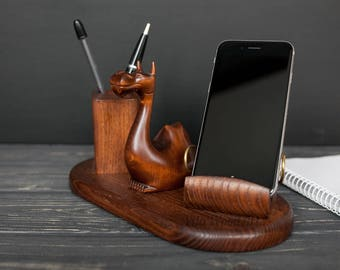 Cell Phone Wood Holder Dragon Wood Desk Organizer Phone Stand Gift For Him Wood Charging Station