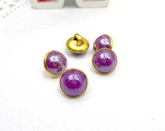 10 x the color purple Pearlescent effect resin buttons round 9 mm