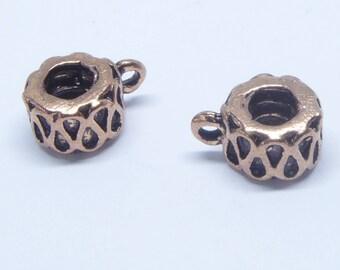 2pcs copper Bali bails - Antique copper bail - 14x8mm - genuine copper - European beads - copper bail beads - large hole beads