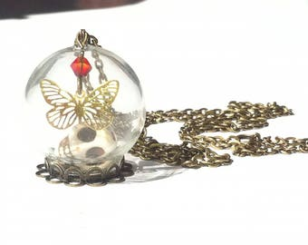 Necklace glass ball, skull and Butterfly