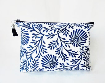 Canvas Wash bag, Blue Indian print, Block print, dumpy bag, boxy bag, cosmetic bag, zip bag, make up bag.