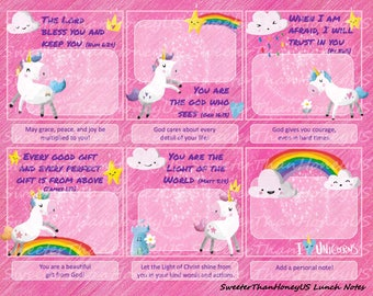 Bible Verse Lunch Notes Unicorn - Unicorn Lunch Notes - Lunchbox Spiritual Nutrition