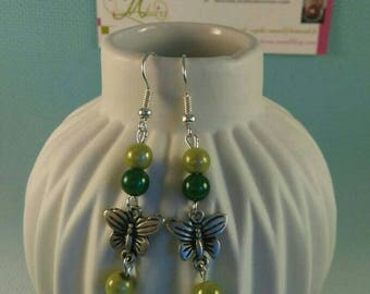 Butterfly, green beads earrings