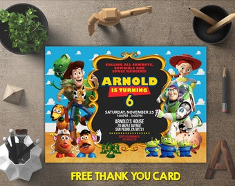 Toy Story Birthday Invitation, Toy Story Invitation, Toy Story Invites, Toy Story Printables, Toy Story Party, FREE 4x6 Thank You Card