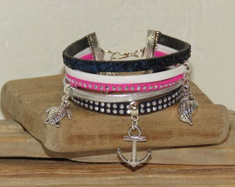 "Cuff Bracelet, MULTISTRAND, Navy Blue, white, pink neon, silver, teenager, leather, studded Suede, glitter, ""Sailor ADO""."