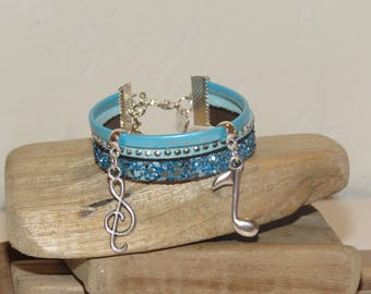 """Leather Cuff Bracelet for girl """"small music notes"""" glitter, leather and suede"""