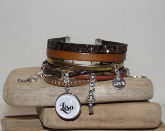 Cuff Bracelet personalized with the name of your choice of leather and suede, Brown, caramel and gold colors