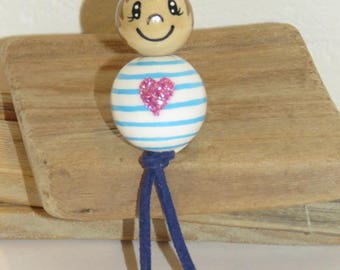 "Keychain, bag charm, little man in striped wood beads beads""smiles"" fully customizable and hand painted figurine"