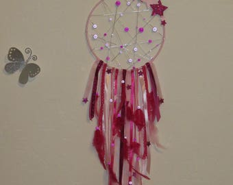 Dream catcher, Fuchsia, pink pastel, with stars, glitter, magic Pearl, feathers, stars, dreamcatcher,