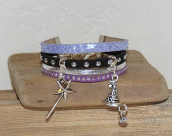 Halloween Cuff Bracelet, purple, black, silver, for girl, leather, glitter, studded Suede, wand, witch Hat