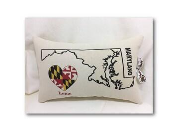 Maryland Map Pillow - I Love Maryland