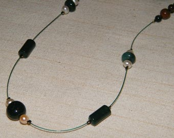 Heliotrope chain with Jasper and bead threaded into individual groups