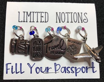 Fill Your Passport Stitch Marker Set