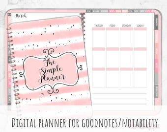 Digital iPad Planner for Goodnotes with Functioning Tabs | Dainty Pink Digital Planner With Budget & Meal Planning