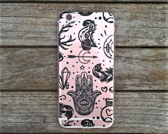 Transparent Soft TPU Gel Hamsa Hand Good Luck Design Phone Case For Iphone 6/s and 7