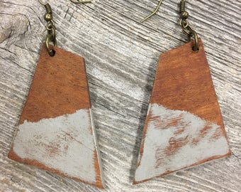 Wooden Earrings, Mahogany, Light Weight, Quadrilateral Shaped Earrings, Handmade, Distressed, Painted