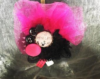 Pink fuchsia/black headband with Shabby Chic inspiration